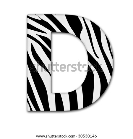 Letter D from the alphabet. Made of animal print. It has a clipping path. - stock photo