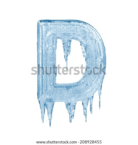 Letter D. Ice font isolated on white background. Alphabet. - stock photo