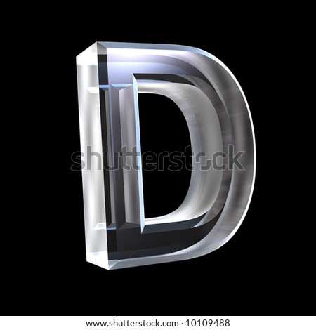 letter D in glass 3D - stock photo