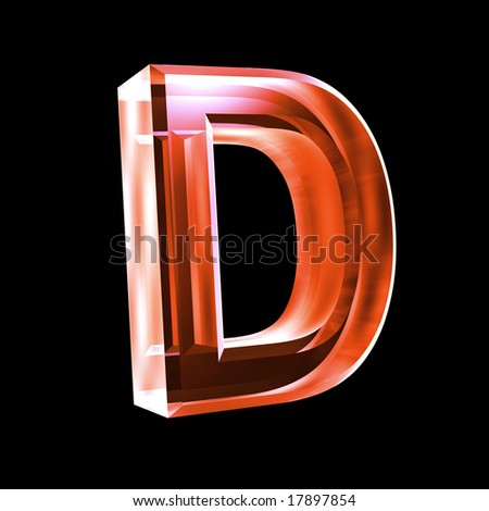 letter D in red glass 3D - stock photo