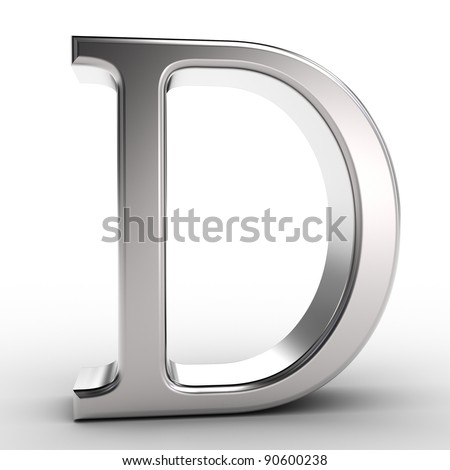 Letter D, isolated on white background.