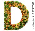 Letter -  D made from 3d fruits. Isolated on a white. - stock photo