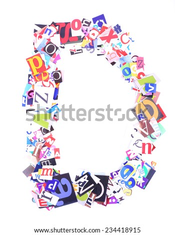 Letter D made of colorful newspaper letters isolated on white - stock photo