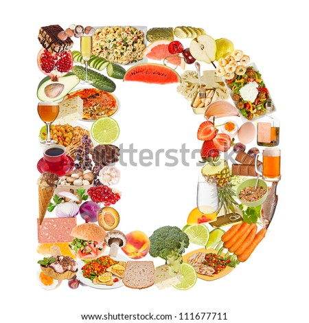 Letter D made of food isolated on white background - stock photo