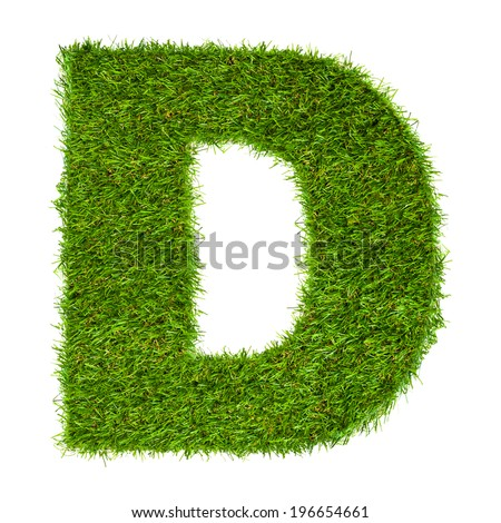 Letter D made of green grass isolated on white - stock photo