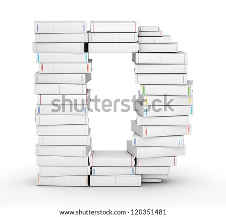 Letter D, stacked from many blank title books in column - stock photo