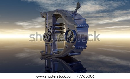 letter d under cloudy sky - 3d illustration - stock photo