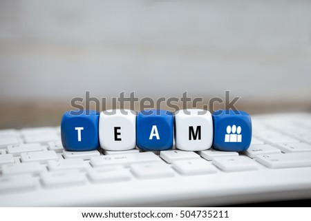 Letter dice with blue and white icon and team text and icon