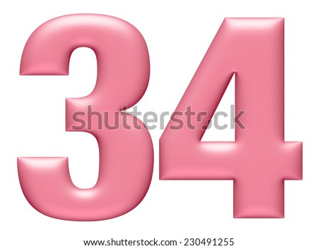 Letter digit 3 & 4 isolated on white background  - stock photo