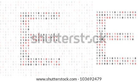 Letter E, alphabet from binary code listing