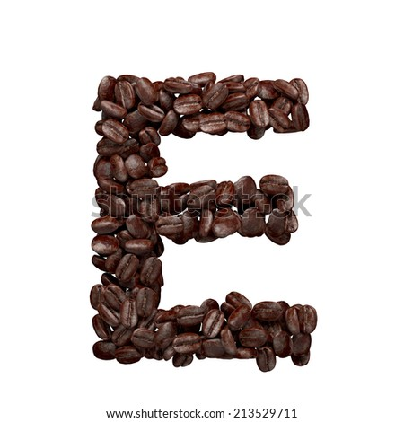 Letter E. Alphabet from coffee beans isolated on white. - stock photo