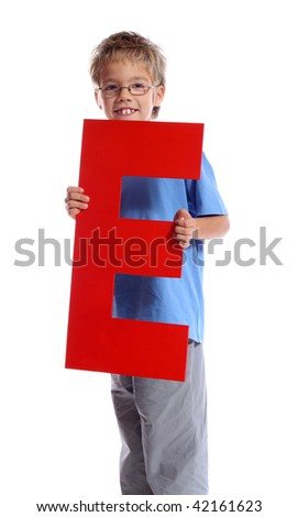 """Letter """"E"""" boy - See all letters in my Portfolio - stock photo"""