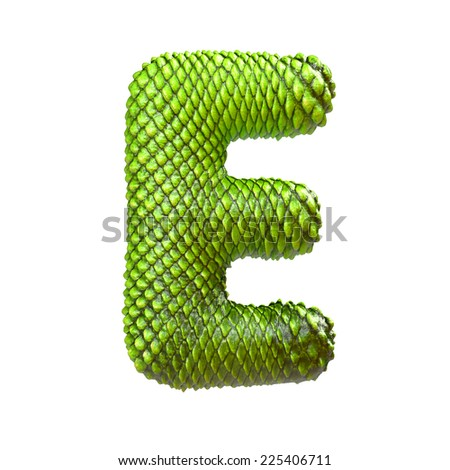 Letter E. Dragon skin alphabet isolated on white. Snake skin font, reptile scale. - stock photo
