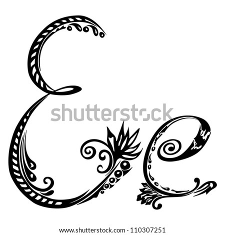 Letter E e in the style of abstract floral pattern on a white background - stock photo