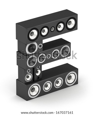 Letter E from black hi-fi speakers sound systems  in isometry - stock photo