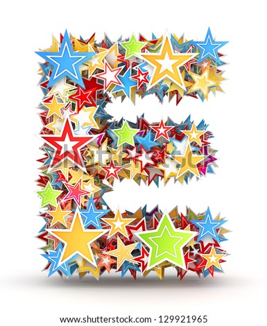 Letter E,  from bright colored holiday stars