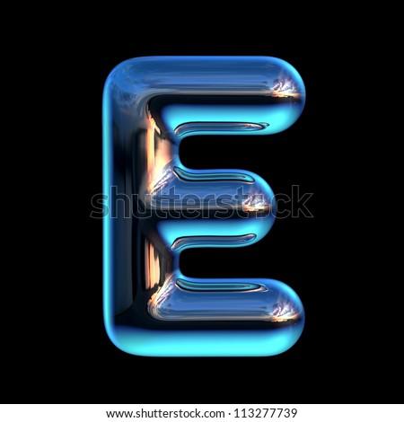 Letter E from chrome blue sunset alphabet - stock photo