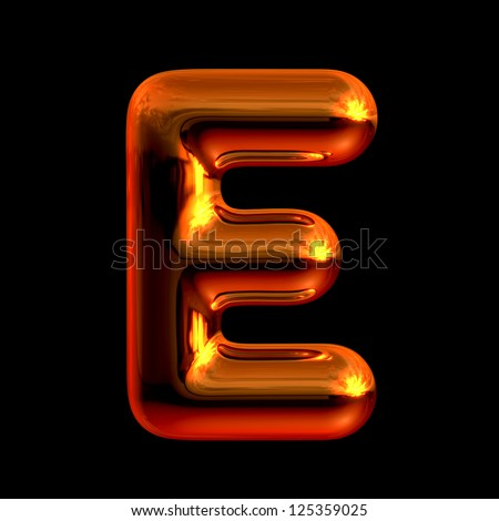 Letter E from chrome orange sunset alphabet. There is a clipping path - stock photo