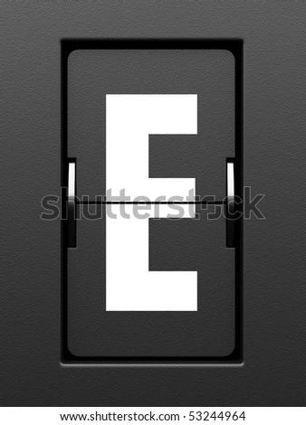Letter E from mechanical scoreboard alphabet - stock photo