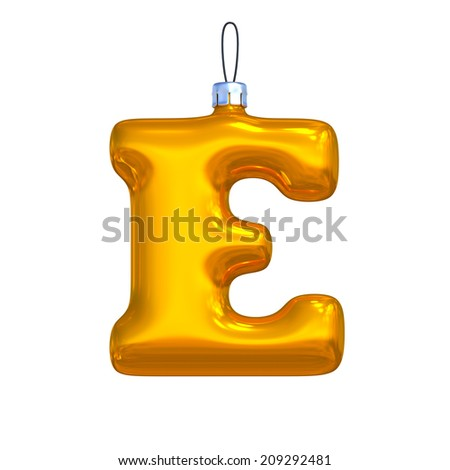 Letter E. Golden shining christmas ball. Alphabet isolated on white background. - stock photo