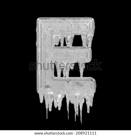 Letter E. Ice font isolated on black background. Alphabet. - stock photo