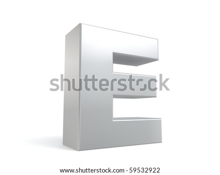 letter E in metal - stock photo