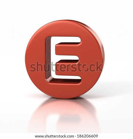 letter E inside red circle - stock photo