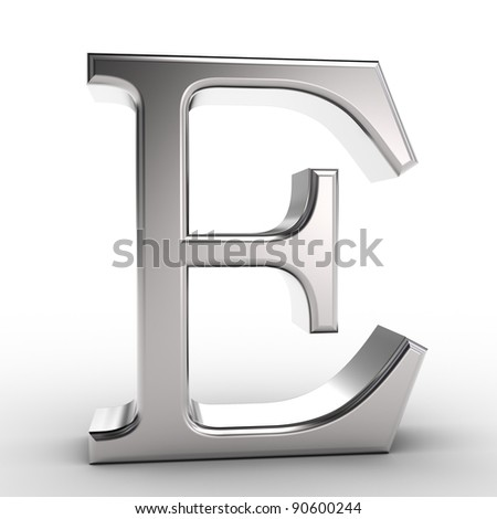 Letter E, isolated on white background.