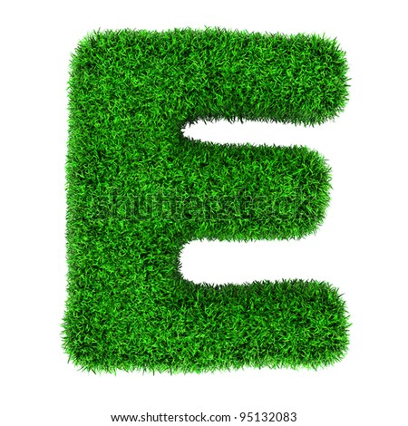 Letter E, made of grass isolated on white background. - stock photo
