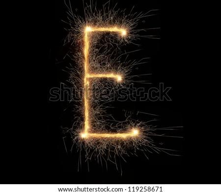 Letter E made of sparkler - stock photo