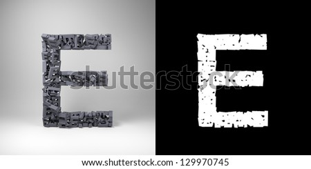 Letter E made out of scrambled small letters with alpha matte for easy isolation