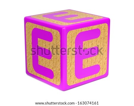 Letter E on Pink Wooden Childrens Alphabet Block  Isolated on White. Educational Concept. - stock photo