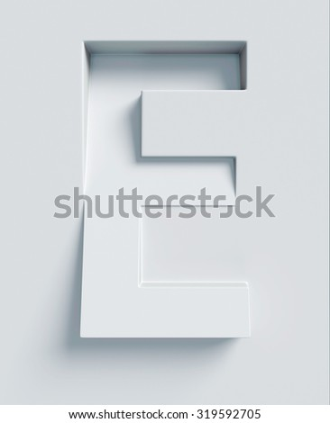 Letter E slanted 3d font engraved and extruded from the surface