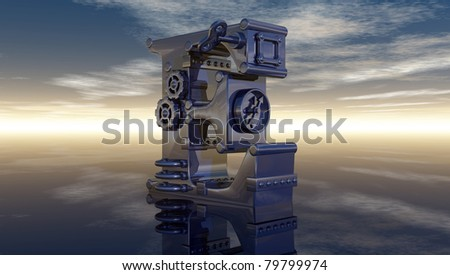 letter e under cloudy sky - 3d illustration