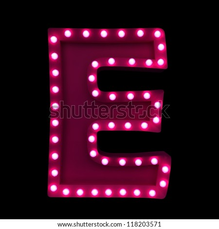 letter E with neon lights isolated on black background - stock photo