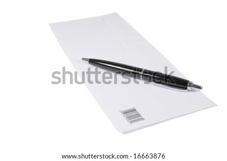 Letter envelop and a black pen isolated on white