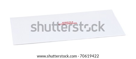letter envelope with text isolate on white background - stock photo
