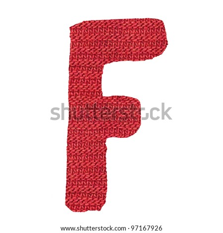 letter F alphabet, knitted spokes structure - stock photo