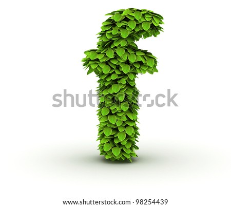 Letter f , alphabet of green leaves, small caps - stock photo