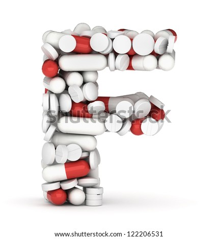 Letter F, alphabet of medicine pills - stock photo