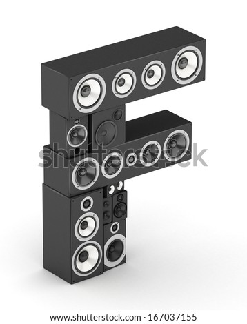Letter F from black hi-fi speakers sound systems  in isometry - stock photo