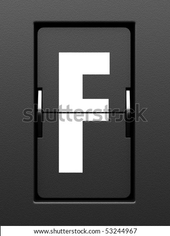 Letter F from mechanical scoreboard alphabet - stock photo