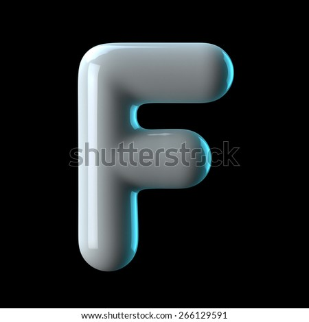 Letter F from round white blue light alphabet. There is a clipping path