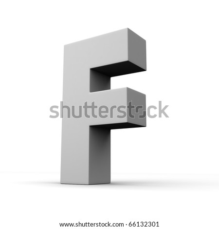 Letter F from solid alphabet. There is a clipping path - stock photo