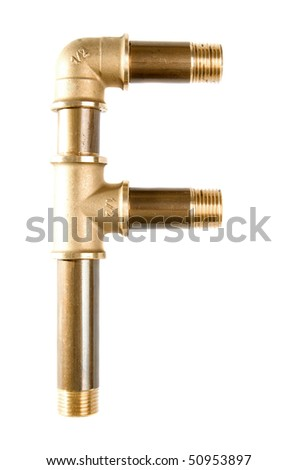 Letter F from water pipes - stock photo