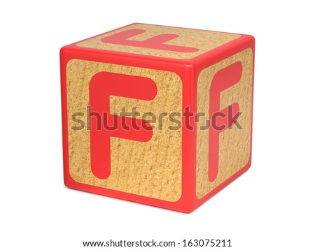 Letter F on Red Wooden Childrens Alphabet Block  Isolated on White. Educational Concept. - stock photo
