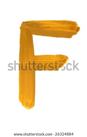 Letter F painted on the white background
