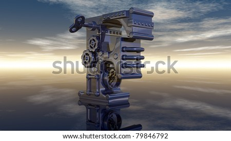letter f under cloudy sky - 3d illustration