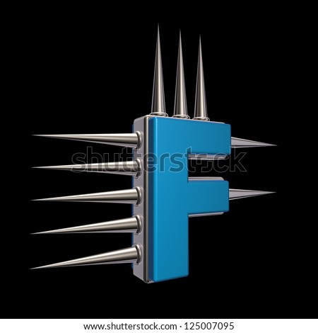 letter f with metal prickles on black background - 3d illustration - stock photo