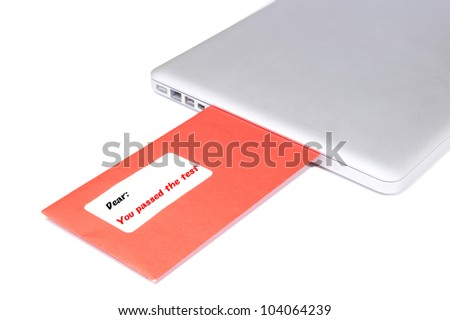 Letter flying out of modern laptop